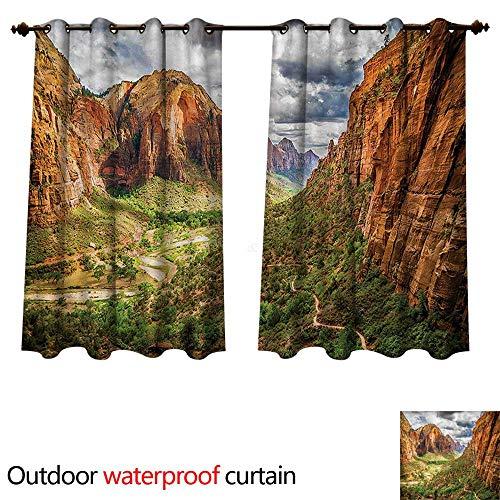 cobeDecor National Parks Home Patio Outdoor Curtain Utah Plateau Mojave W55 x L72(140cm x 183cm)