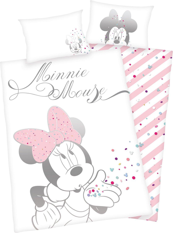 1 Housse de Couette 135 x 200 cm Parure de lit pour Fille 1 taie doreiller 80 x 80 cm Disney Parure de lit Minnie Mouse 100/% Coton