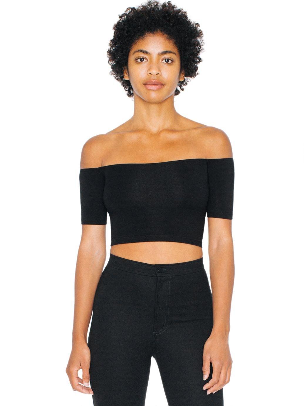 American Apparel Women's Cotton Spandex Off-Shoulder Top, Black, Medium
