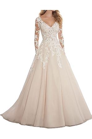 Ivydressing Damen Modern Lang Arm V-Ausschnitt Abendkleider ...