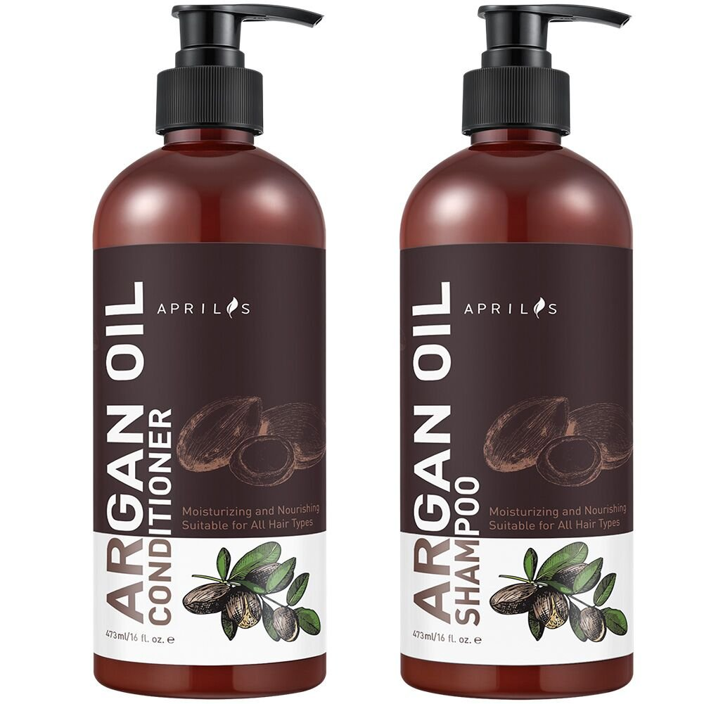 Moroccan Argan Oil Shampoo and Conditioner Set, Organic Volumizing & Moisturizing Treatment for Hair Loss, Damage, Thinning and Color Treated Hair, Hair Regrowth for Men & Women, 2 x 16 fl. oz. by Aprilis (Image #1)