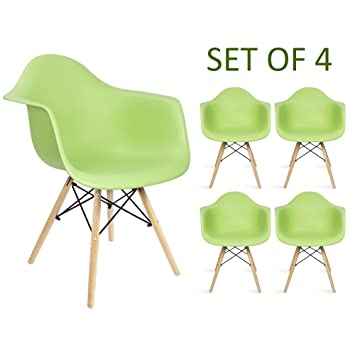 Devoko Eames Arm Chairs Mid Century Molded Plastic Shell Dining Chairs  Modern Living Room Chair Set
