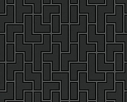 Black And White Geometric Black Wallpaper Roll Modern Wall Decor