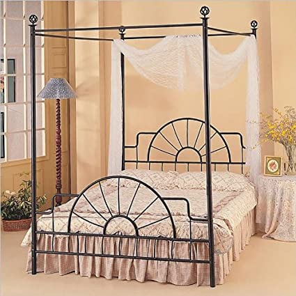 Amazoncom Queen Complete Black Wrought Iron Canopy Bed Kitchen