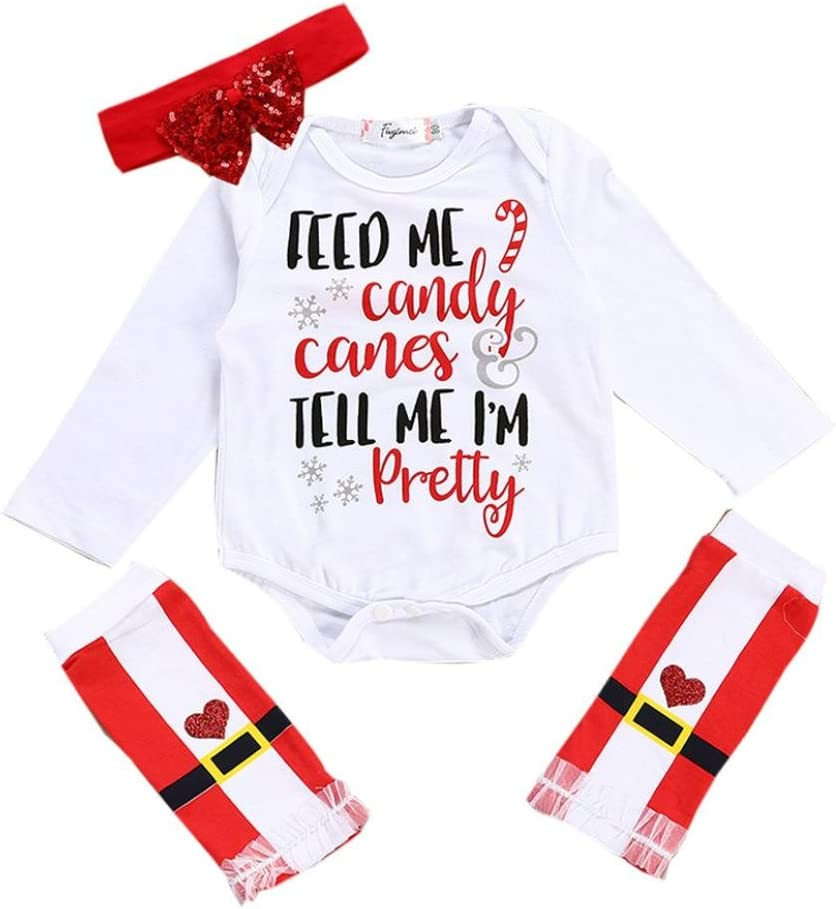 Franterd Newborn Infant Baby Girls Christmas Candy Romper Tops+Warmer Leg Headband Outfits Set