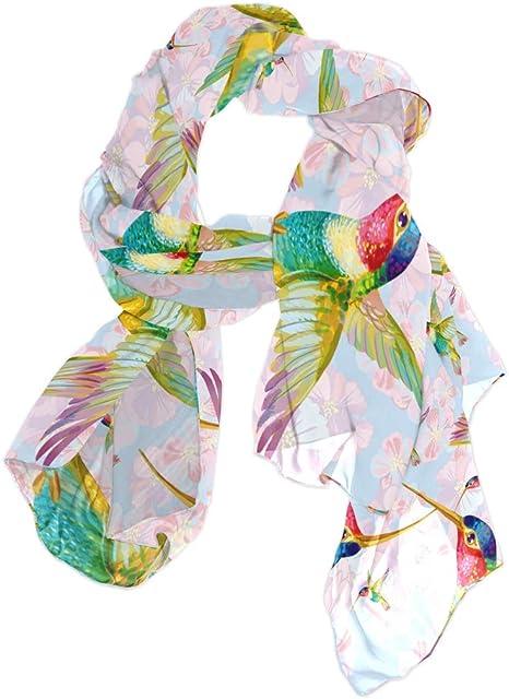 TFONE Scarfs for Women Lightweight Hummingbird Flower Bird Long Soft Scarves for Ladies Shawl Wraps