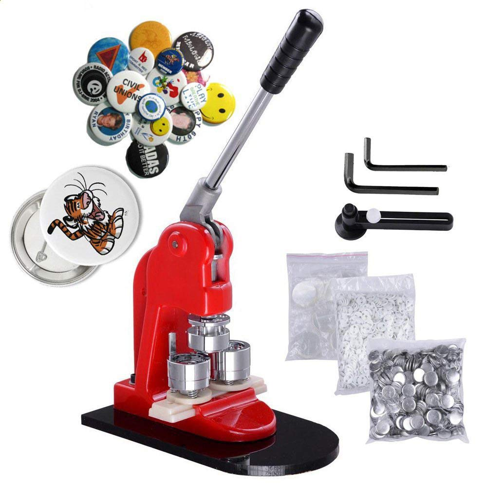 Mophorn Button Maker 32mm 1.25Inch Button Maker Machine Badge Punch Press Pin Button Maker with Free 1000 Pcs Button Parts and Circle Cutter (1000pcs 32mm 1.25inch) by Mophorn