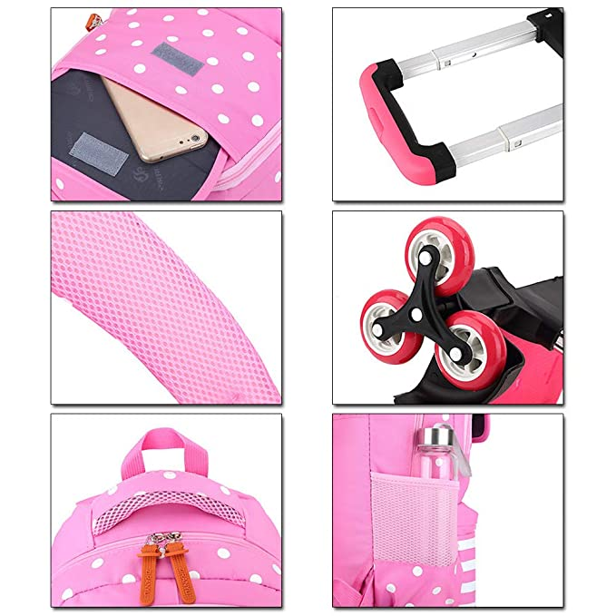 Amazon.com | KINDOYO Backpack Trolley-School Bag Childrens Rolling Backpack, rose Red, 6 Wheels | Backpacks