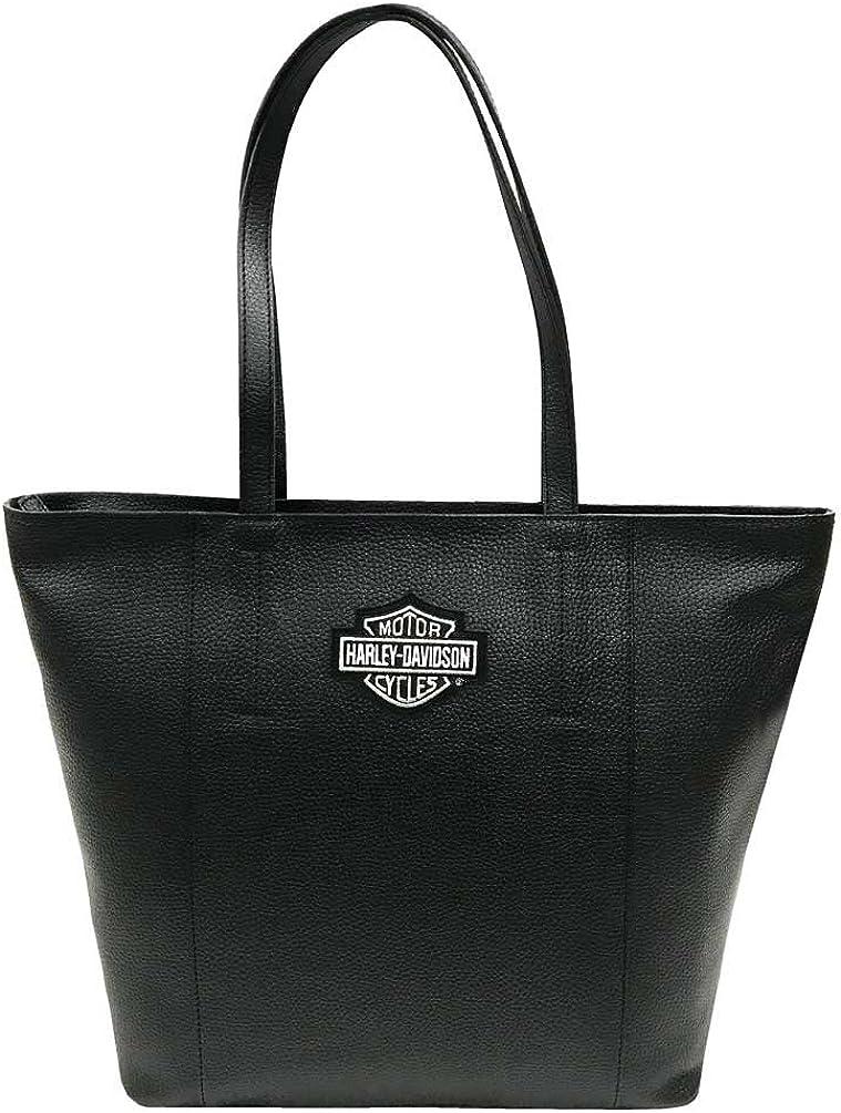Harley-Davidson Women s Bar Shield Travel Leather Tote Bag, Black 99516-BLACK