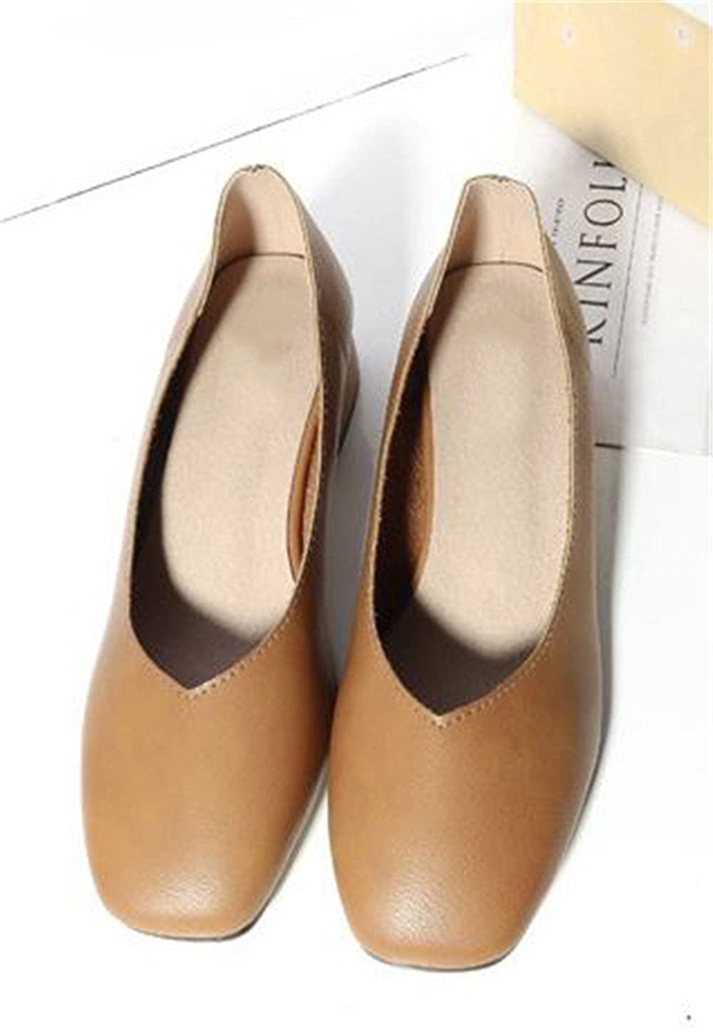 Womens Casual Loafers Squared Toe Flats Slip On Ballet Shoes