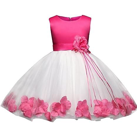 fe59dcf8ac25 Ankoee Princesa Vestido de niña de Flores para la Boda Vestidos de Dama De  Honor Sin Mangas Fiesta Tul Bowknot Comunión Cumpleaños Bola Vestir 3-8 Años:  ...