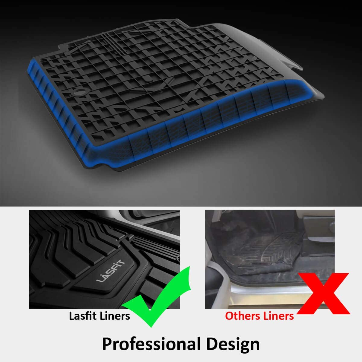 Black LASFIT Floor Mats Fits for 2019-2020 Altima,Heavy Duty All Weather TPE Floor Liners 1st /& 2nd Row