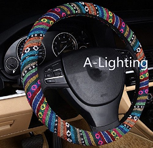 A-Lighting Ethnic Style Coarse Flax Cloth Automotive Steering Wheel Cover Anti Slip and Sweat Absorption Auto Car Wrap Cover – A