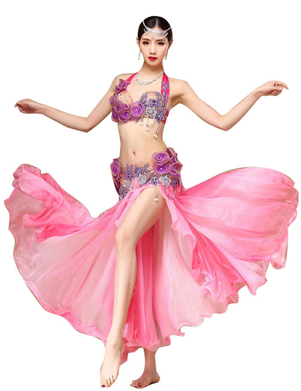 ベリーダンス衣装セット 高級演出服 ステージ衣装 プローダンサー仕様 ピンク