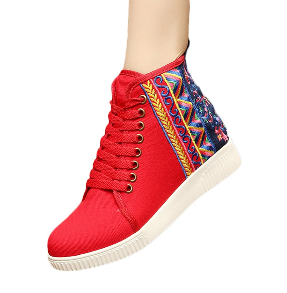 Insun Zapatos de Cordones Para Mujer Alpargatas de Mujer con Bordado 36 EU|Rojo