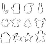 Large Christmas Cookie Cutters Set-12 Pieces Holiday Cookie Cutters-Stainless Steel