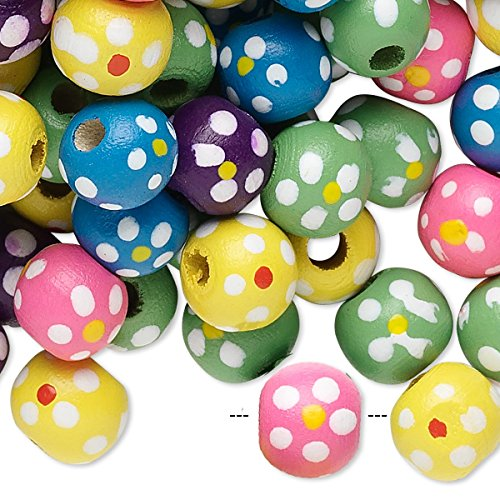Bead mix painted wood mixed colors 9-10mm irregular round with flower design-H20-8058NB