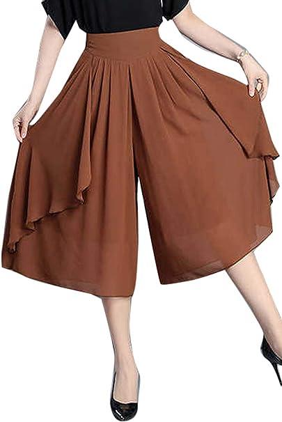 Mujer Pantalones Falda Fashion Ocasional Anchas Pantalon Anchos ...