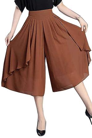 b611eaa27312 BoBoLily Femme Pantalons Roche Fashion Décontracté Large Wide Leg Pants Elégante  Pantalons Palazzo Couleur Unie Taille Haute Vintage Mousseline Spécial ...