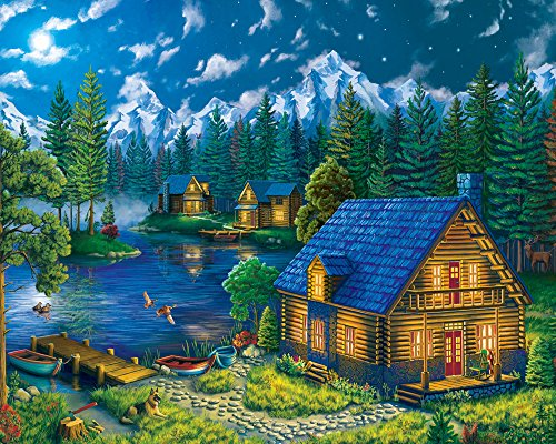 Forest 1000 Piece Puzzle - Vermont Christmas Company Forest Cabin Jigsaw Puzzle 1000 Piece