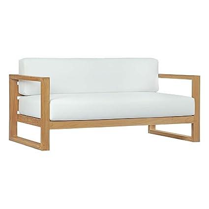 Amazon.com : Modway EEI-2707-NAT-WHI Upland Outdoor Patio Teak Sofa ...