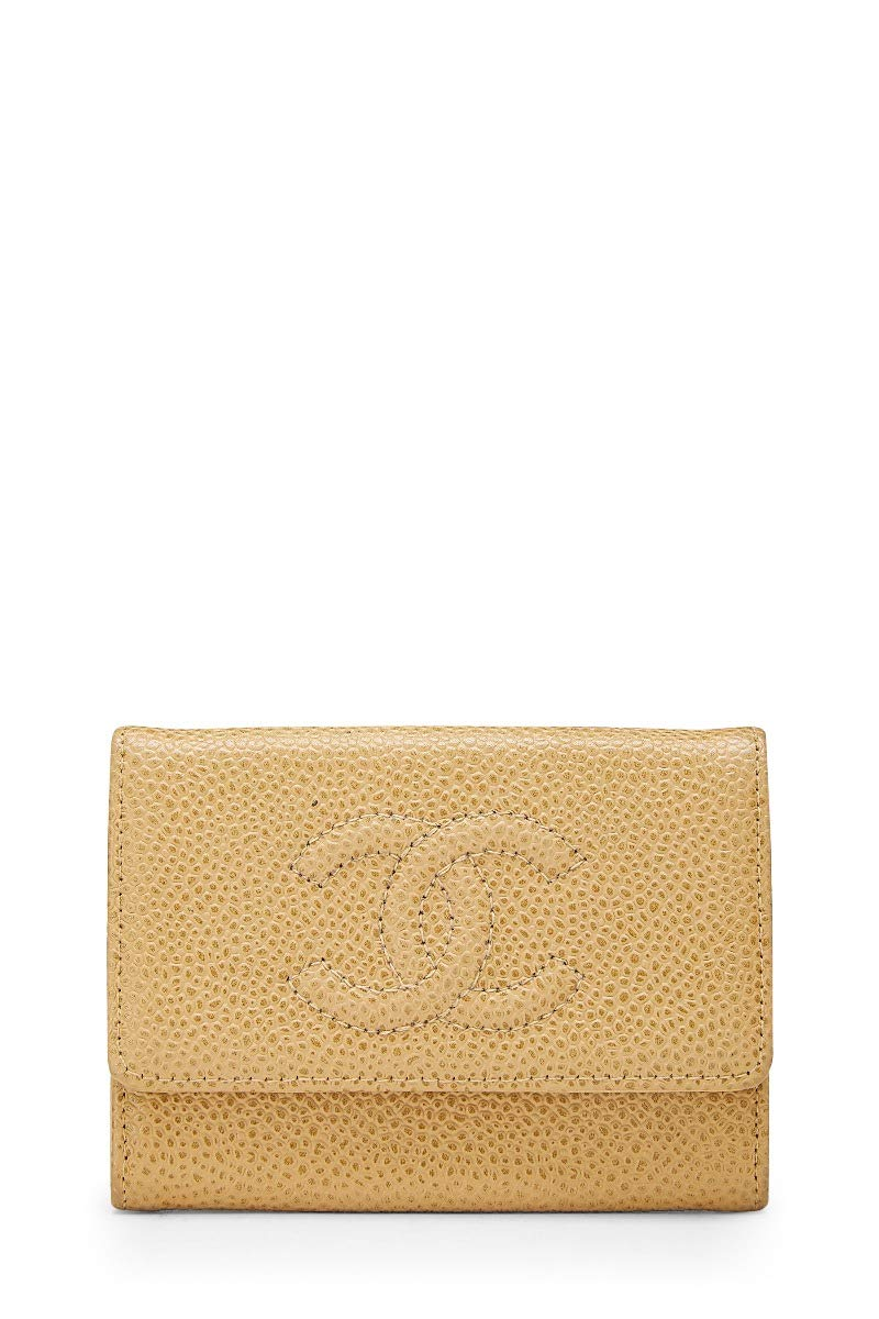 CHANEL Beige Caviar Card Holder (Pre-Owned)