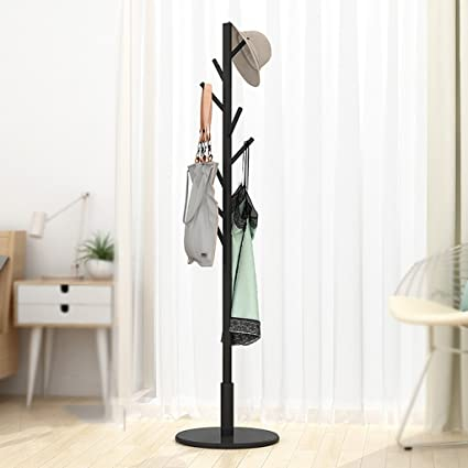 MOJ-YJ Wooden Coat Stand 8 Hooks Hat and Coat Rack Free Standing Tree Clothes