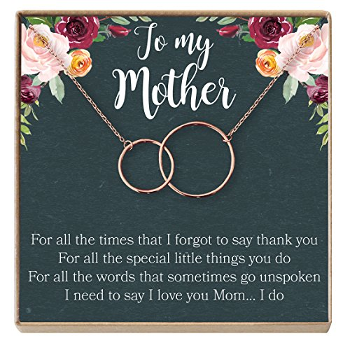 Dear Ava Mother Gift Necklace: To My Mother, Mom Necklace, Mom Gift,, 2 Interlocking Circles (rose-gold-plated-brass, (Ava Jewelry Box)