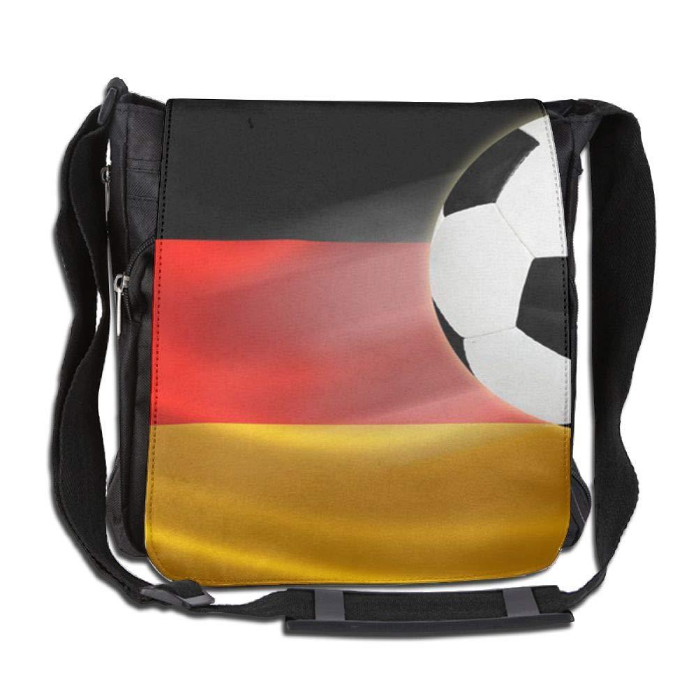 SARA NELL Messenger Bag,Germany Flag Football,Unisex Shoulder Backpack Cross-body Sling Bag