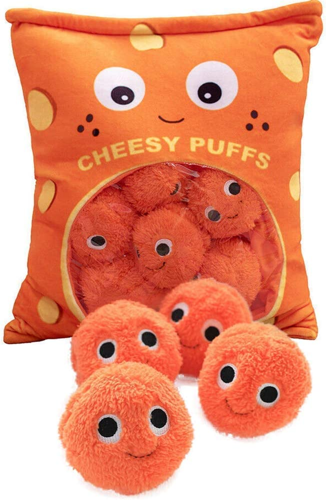 XINGYUSP Cheesy Puffs Plush Toy, Stuffed Soft Snack Pillow Plush Puff Toy, Delicious Food Dessert Package, Puff Cheese Puff Stuffed Toy Game Pillow