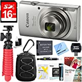 Canon PowerShot ELPH 180 20MP 8x Optical Zoom Digital Camera (Silver) + 16GB SDHC High Speed Memory Card & Accessory Bundle