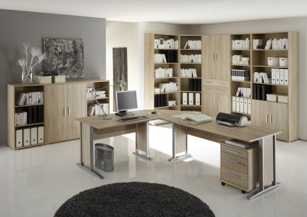 BGB1 Office Line Eckregal Schmal, Holzdekor, Korpus und Front ...