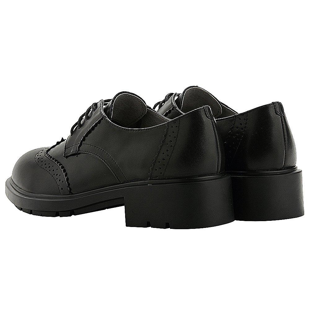 rismart Botines con cordones de mujer Brogue Zapatos oxford de cuero con  estilo Negro 32ea50c2304d