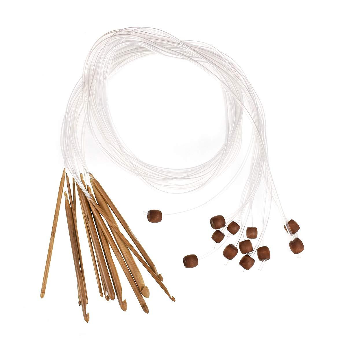 Looen - Juego de 12 Aguja de Crochet tunecinos de 1,2 m d...