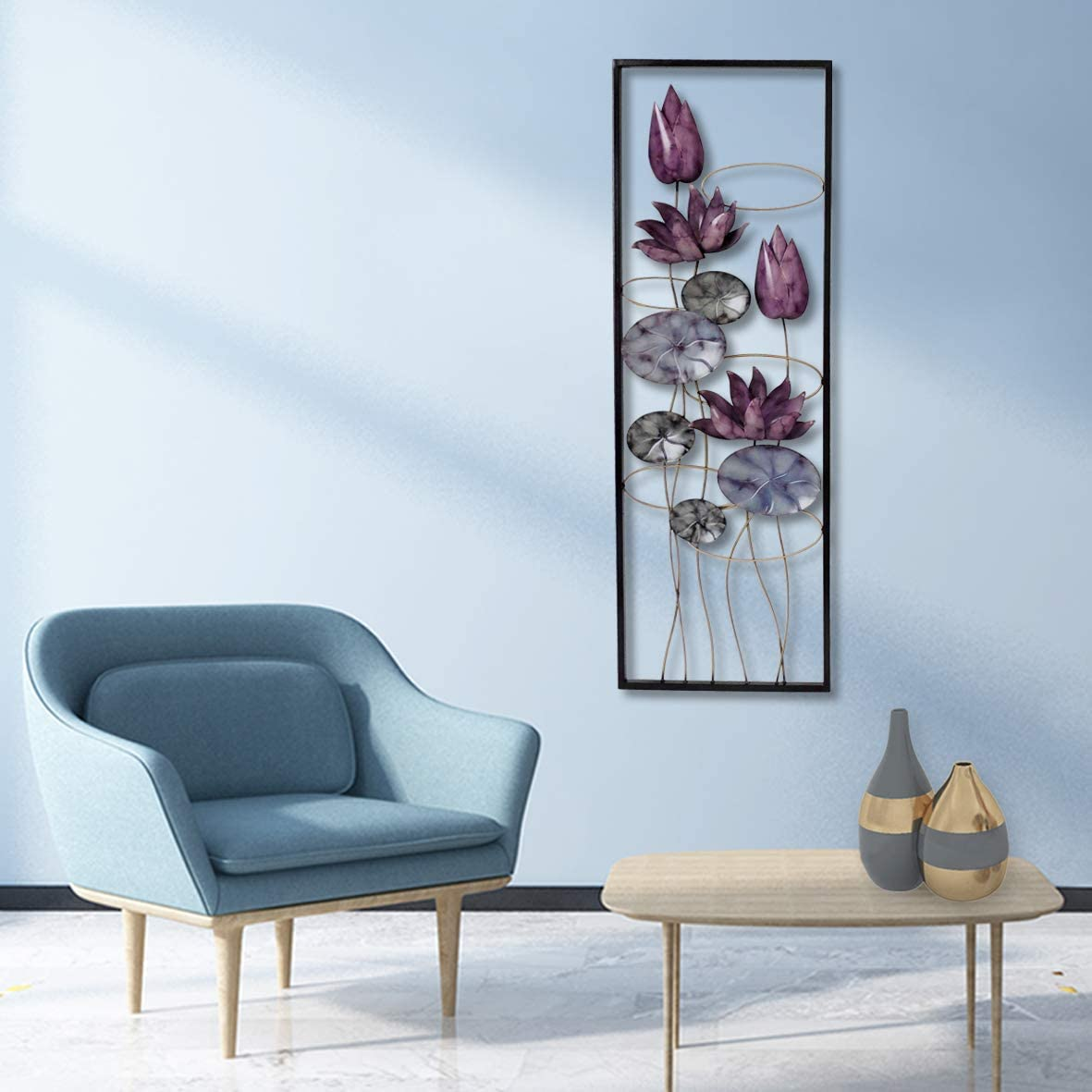 "New All American Collection Flower and Leaves Aluminum/Metal Wall Decor with Frame 12""x36"" (Purple Flowers)"