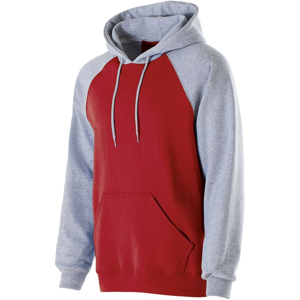Holloway Youth Banner Hoodie (Medium, Scarlet/Athletic Heather) by Holloway