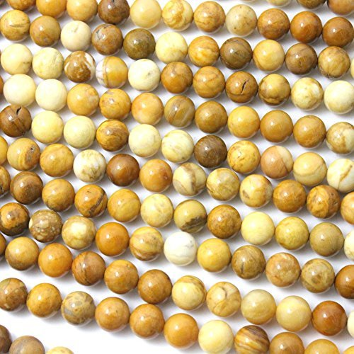 - Natural Yellow Jasper Round Gemstone Loose Beads for Bracelet (6mm)