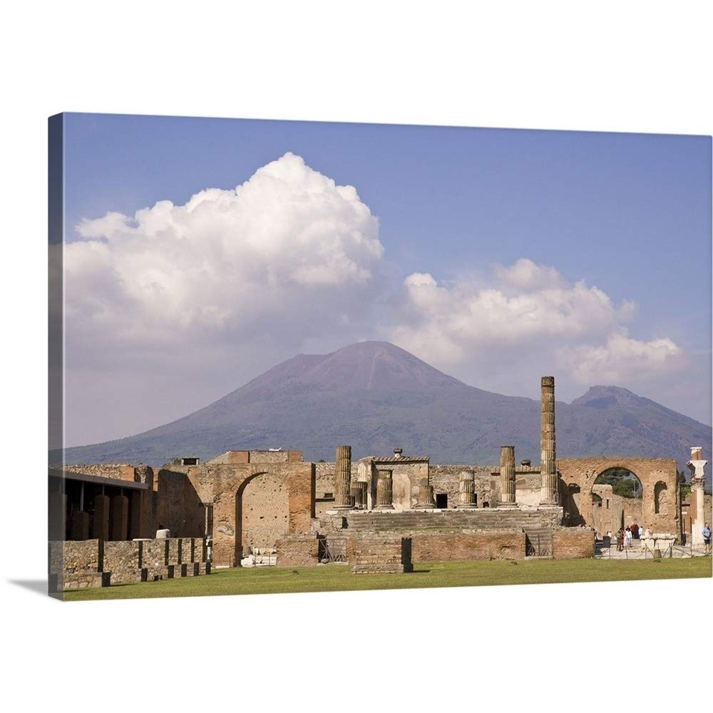 Gallery-Wrapped Canvas Entitled Italy, Campania, Pompeii, Temple of Jupiter with Mount Vesuvius in The Background by Wendy Kaveney 48''x32''