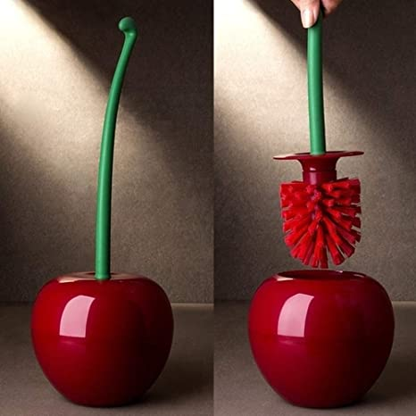 Creative Toilet Brush Holder Set Cherry Shape Standing WC Cleaning Bathroom Red