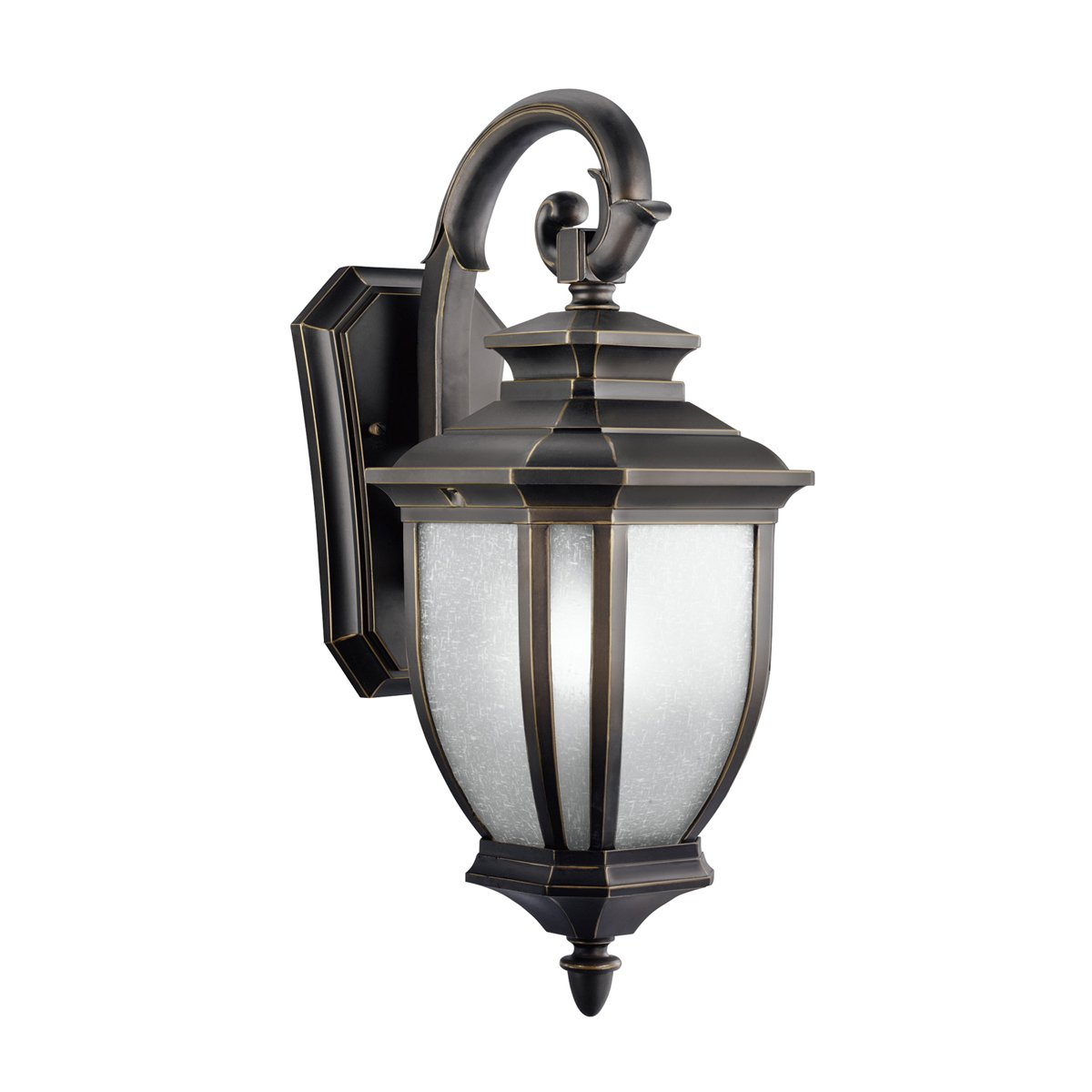 Kichler Lighting 9040RZ Salisbury 1-Light Outdoor Wall Mount Fixture, Rubbed Bronze with White Linen Glass by Kichler B000PWD6WM