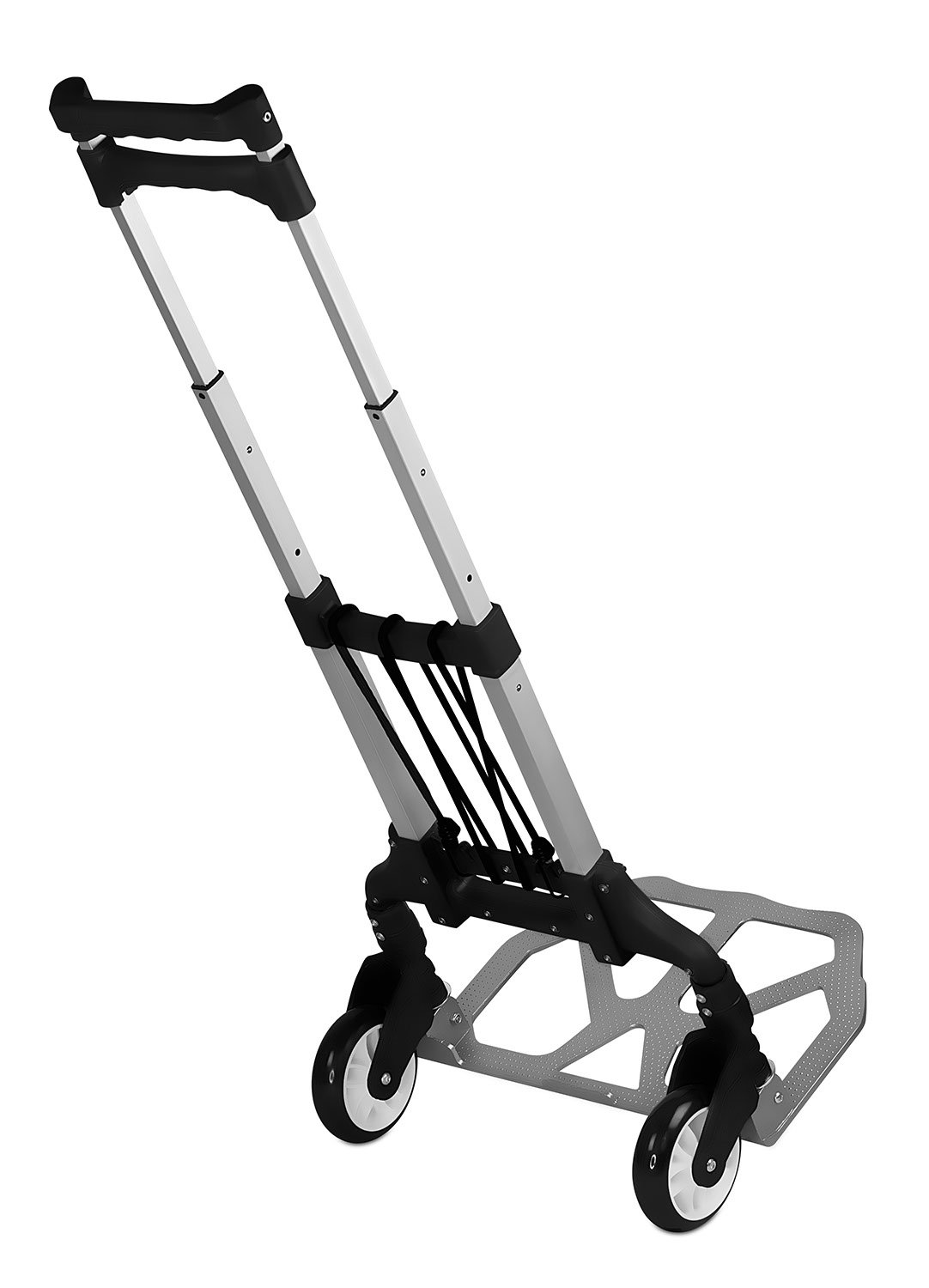 Mount-It! Folding Hand Truck and Dolly, 165 Lb Capacity Heavy-Duty Luggage Trolley Cart With Telescoping Handle and Rubber Wheels