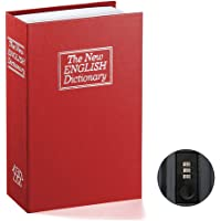 Book Safe with Combination Lock – Jssmst Home Dictionary Diversion Metal Safe Lock Box 2018, Red Small