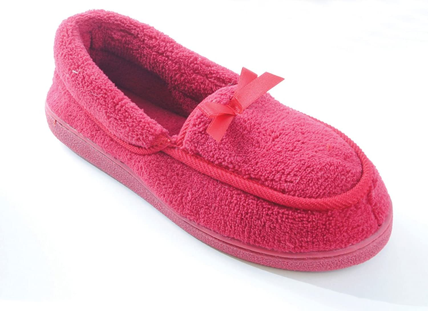 SlumberzzZ Womens Bound Terry Fleece Moccasin Slippers: Amazon.co.uk: Shoes  & Bags