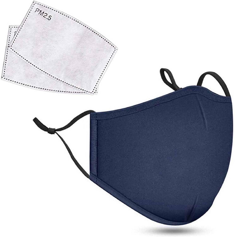 1PC Face Cover con 2PC Filtro, Algodón de Reutilizable y Lavable, Antipolvo Transpirable Protección de Adulto Mujer y Hombres