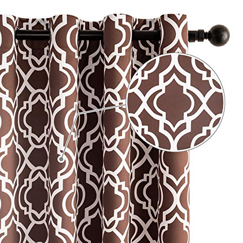 """Drewin Curtains for Bedroom 63 Inch Length 100% Blackout Moroccan Window Brown Curtain Thermal Insulated Drapes Noise Reducing Drapery Room Decor, 2 Panels Coffee 52""""Wx63""""L"""