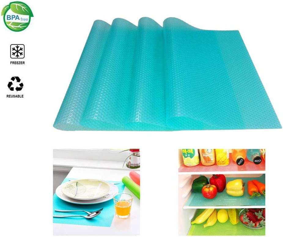 Refrigerator Shelf Liners 4PCS EVA Shelf Liners Can Be Cut Washable Refrigerator Pad Mat Fridge Cushion Liner Non-Adhesive Cupboard Liners Non-Slip Cabinet Drawer Table Liners - (blue,29x45cm)