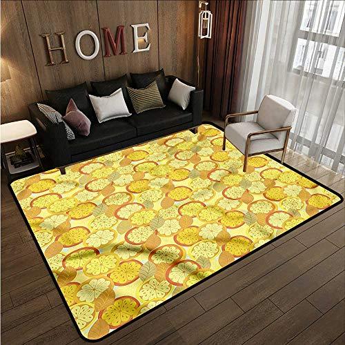 Classroom Rug Yellow and Brown Citrus Fruit Lemon Children Crawling Bedroom Rug 4'7