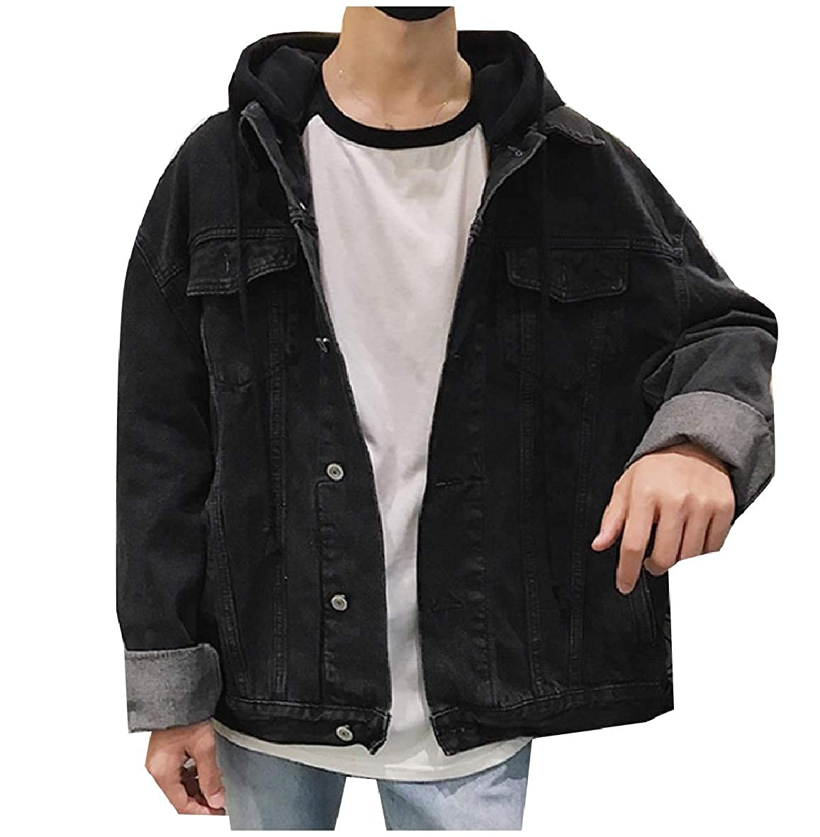 09bbca21e Black Tootca Men Washed Hooded Fall Winter Button Button Button Casual  Denim Jacket Coat 638f36