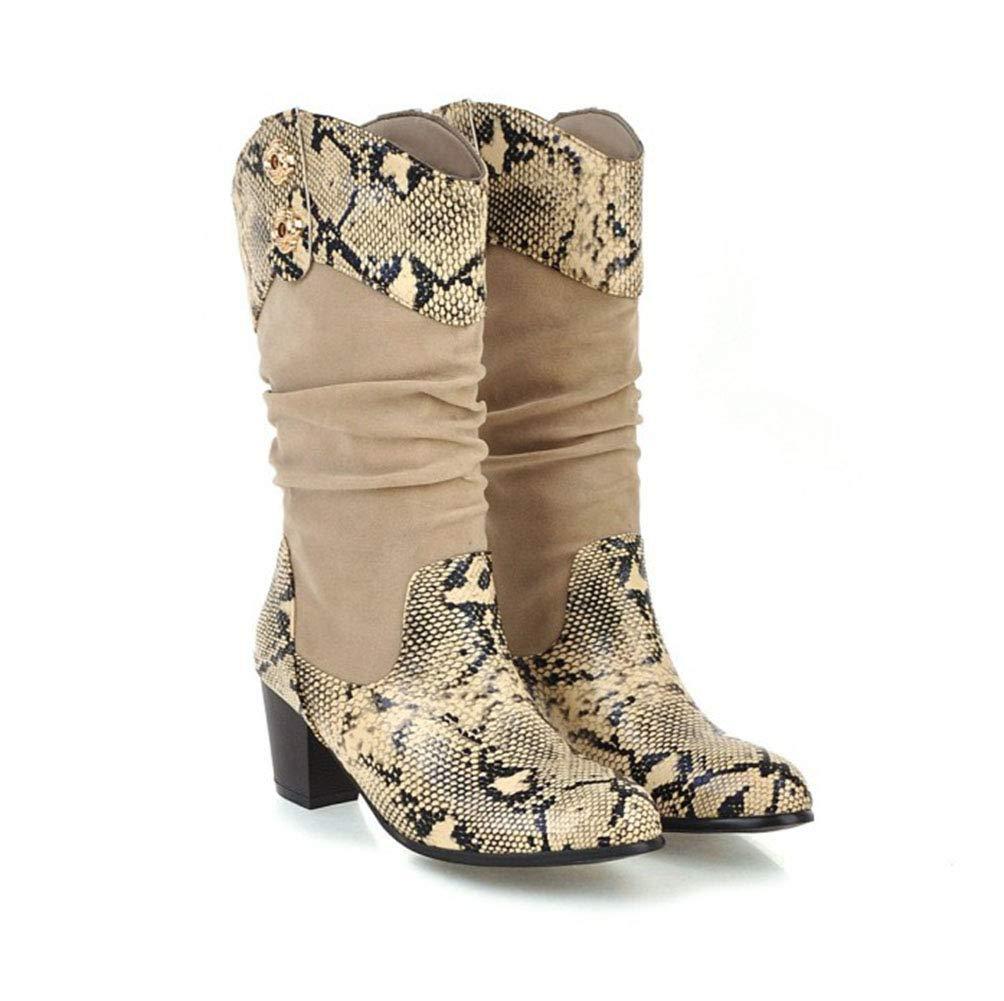 Runde Kopf High Heels Schlangenmuster Falten Mode Damen Stiefel Damen Schuhe Ritter Stiefel Größe