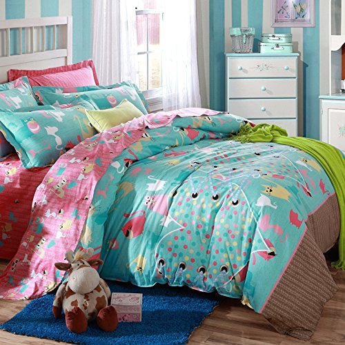 MeMoreCool Home Textile Cute Cartoon Design Boys And Girls Bedding Set Cats  Pattern Duvet Cover Students 100% Cotton Bedding Fillet Bed Sheets Full  Size ...